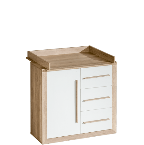 Komoda z przewijakiem, 3 szufladami i z szafką – Terra 2
