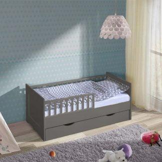 Łóżko dziecięce 140x70 z szufladą ciemny grafit