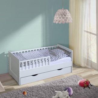 Łóżko dziecięce 140x70 z szufladą białe